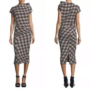 Isabel Marant Ruched Plaid Midi Dress